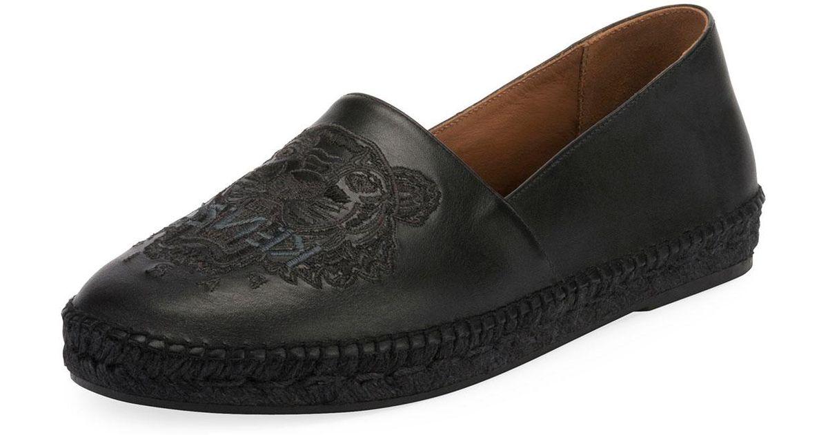 2e5f36d5 KENZO Black Men's Tiger-stitched Leather Slip-on Espadrilles for men