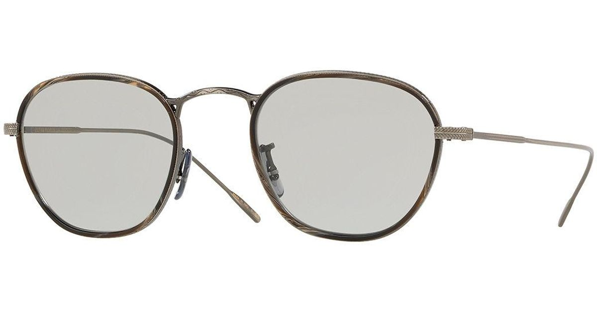 4be50c6cd4ff Lyst - Oliver Peoples Men s Row Eoin Round Metal Sunglasses in Brown for Men