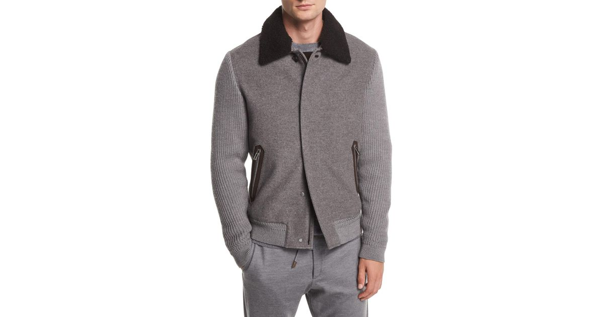 Lyst - Ermenegildo Zegna Zip-front Cashmere wool Bomber Jacket W  Shearling  Collar in Gray for Men efe55f612f1