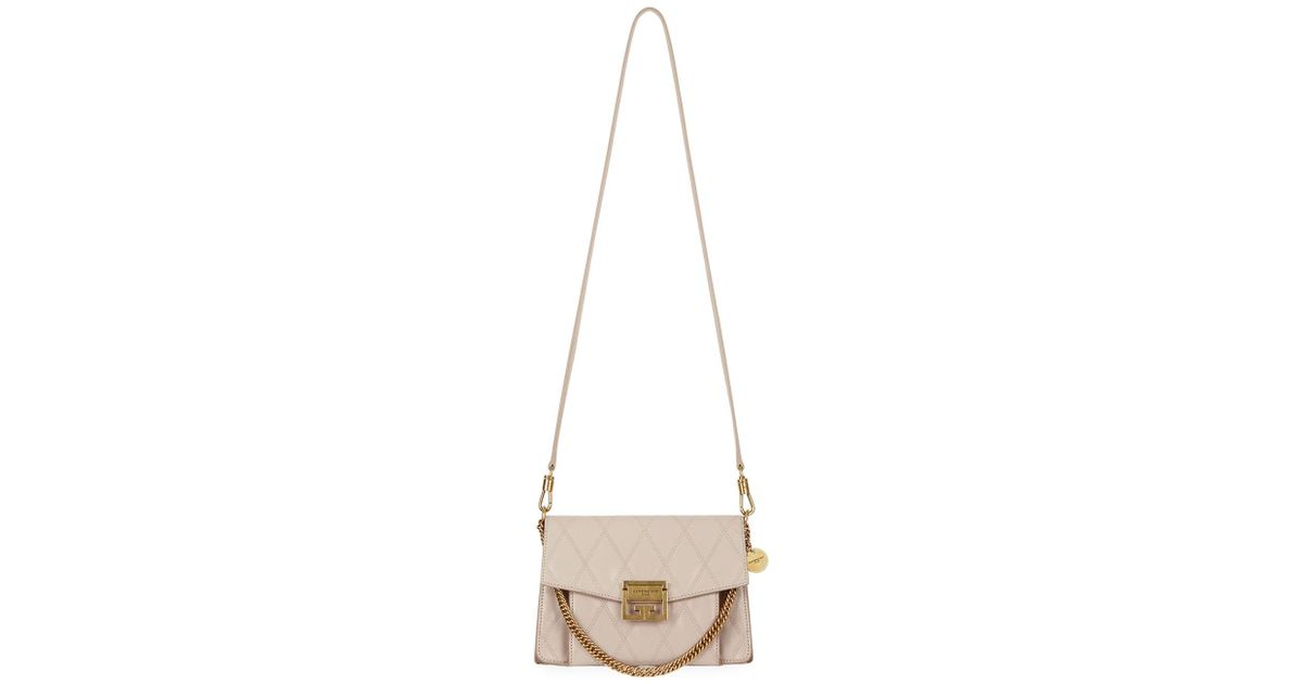 d8a5f7914e Lyst - Givenchy Gv3 Small Quilted Leather Crossbody Bag in Natural
