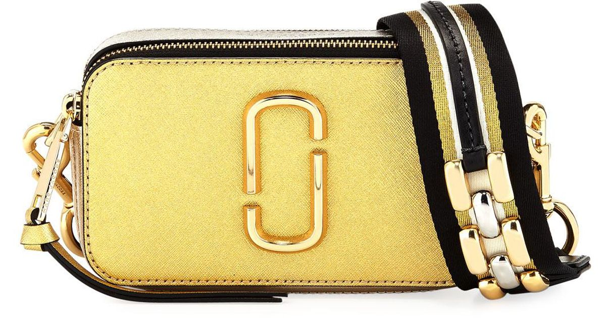 268582a6951 Marc Jacobs Snapshot Metallic Saffiano Leather Camera Bag in Metallic - Lyst