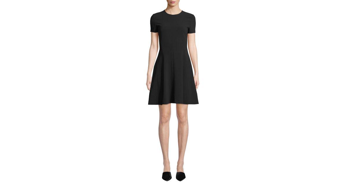 34e8903806ba Lyst - Theory Crewneck Short-sleeve Modern Seamed Shift W. Admiral Crepe  Dress in Black