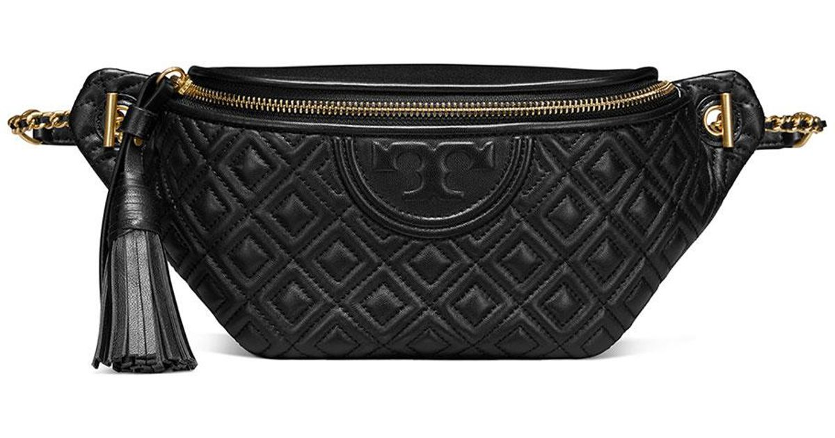 f4660d4940fc Lyst - Tory Burch Fleming Leather Fannypack Bag in Black