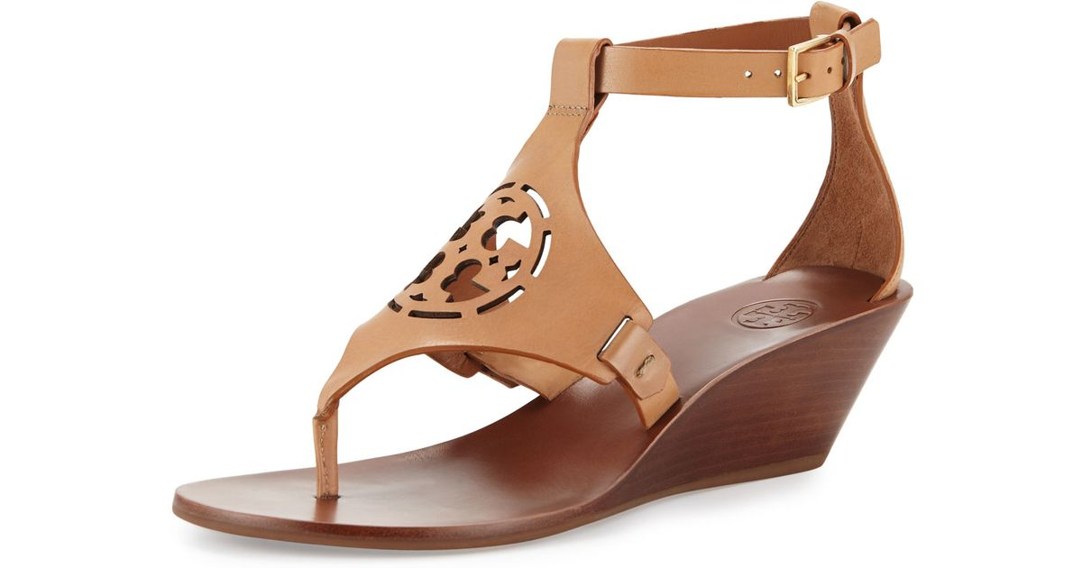 a2d5a135622 Lyst - Tory Burch Zoey Leather Logo Wedge Sandal in Brown
