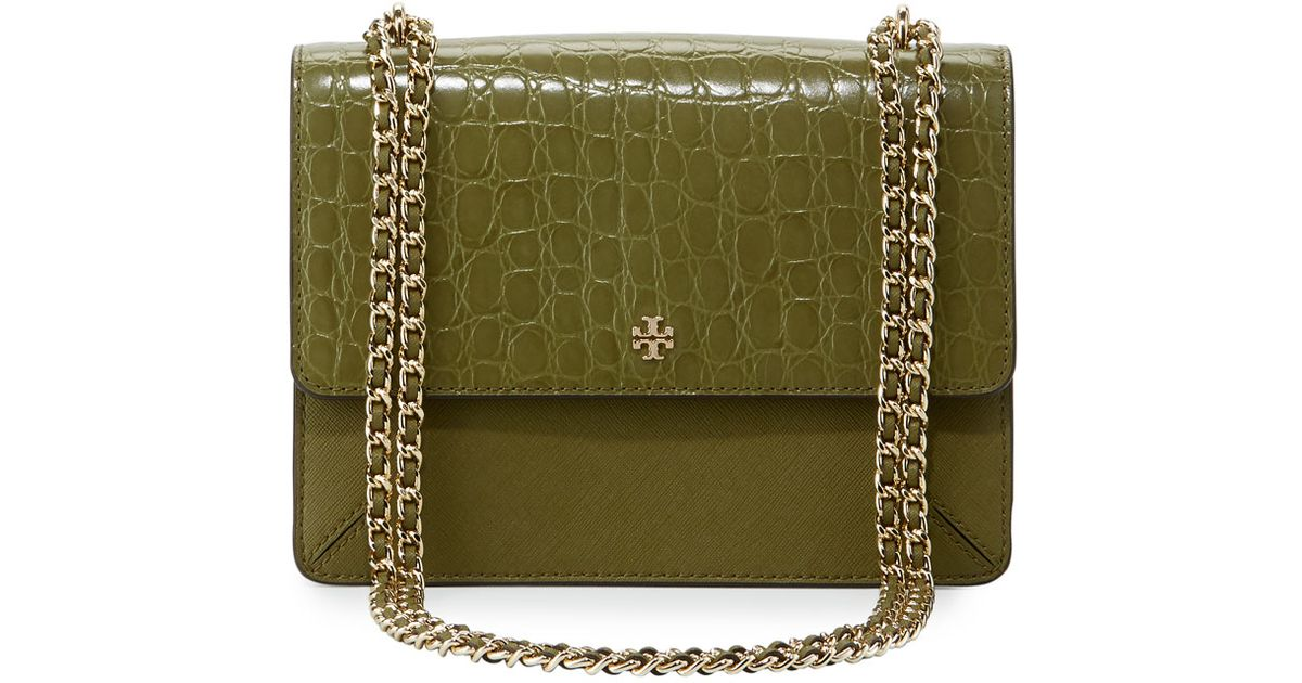 Tory Burch Robinson Crocodile Embossed Convertible