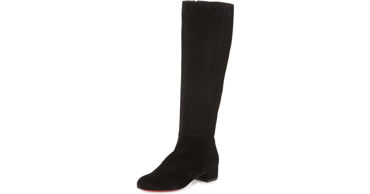 3cb382353a73 Lyst - Christian Louboutin Lili Suede 30mm Red Sole Knee Boot in Black