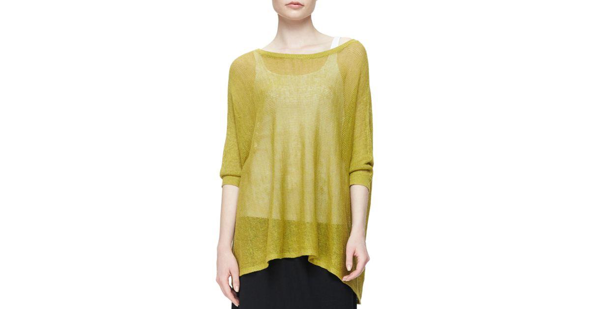 Eileen Fisher 3 4 Sleeve Organic Linen Mesh Box Top In