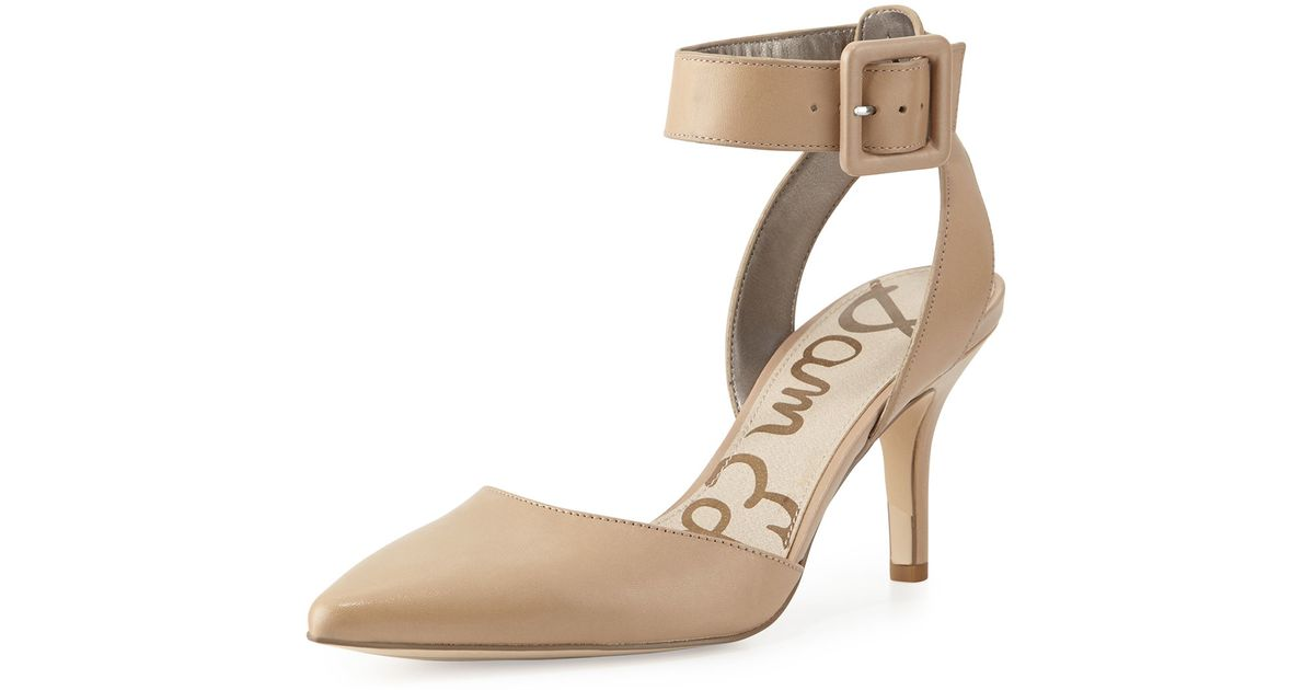 029034c6a34fc Lyst - Sam Edelman Okala Leather Ankle-Wrap Pump in Natural