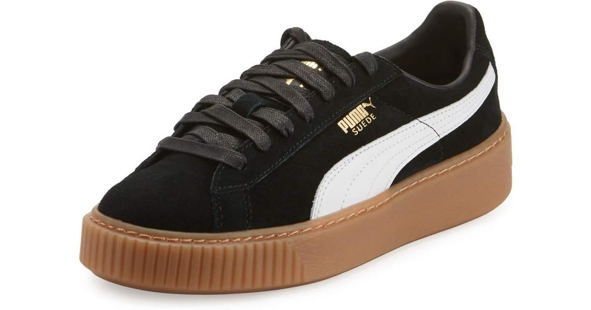0b6d78cda9a Lyst - PUMA Women s Suede Platform Casual Sneakers From Finish Line in Black