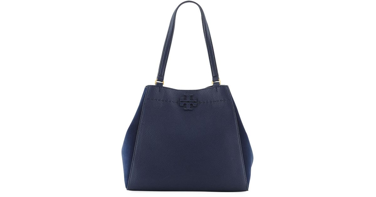 815865b3a22b Lyst - Tory Burch Mcgraw Mixed Tote Bag in Blue