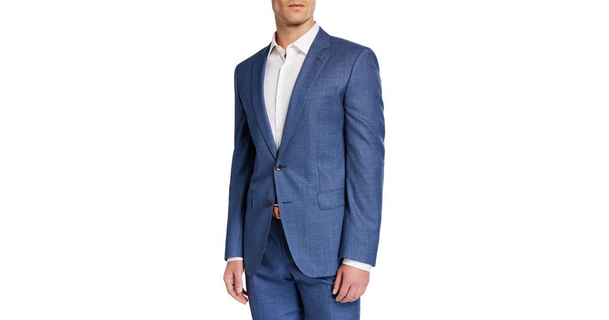 f9f16aeaf BOSS Men's Two-piece Slim-fit Wool Suit in Blue for Men - Lyst