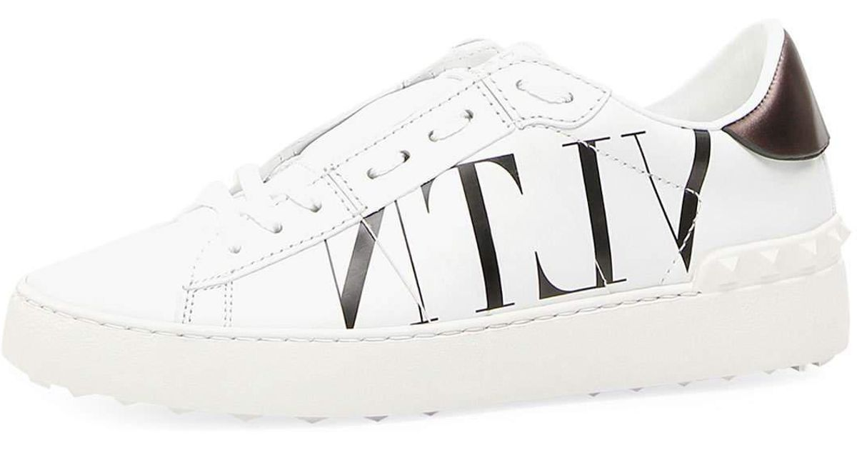 d7911383217d Lyst - Valentino Logo-print Leather Trainers in White - Save 38%