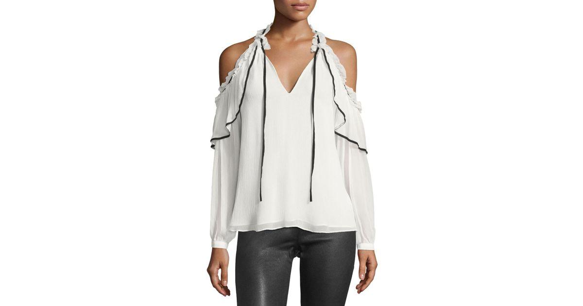 517412254e9d2 Lyst - Parker Ventura Split-neck Cold-shoulder Chiffon Blouse in White
