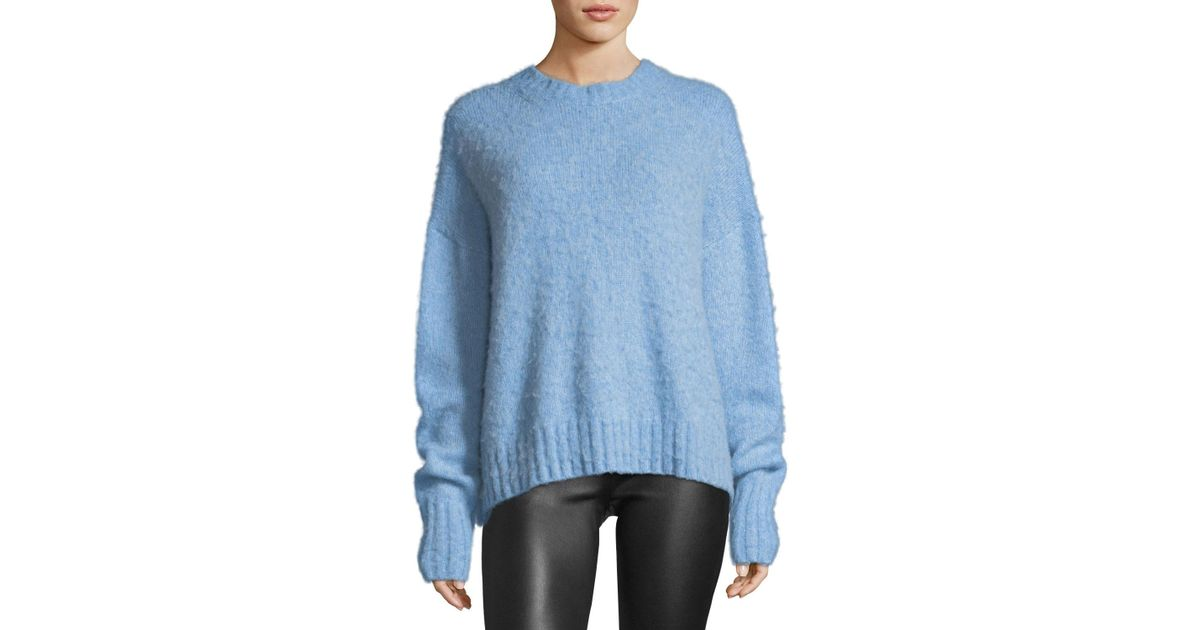 77a5b895c1 Lyst - Helmut Lang Crewneck Brushed Wool Pullover Sweater in Blue