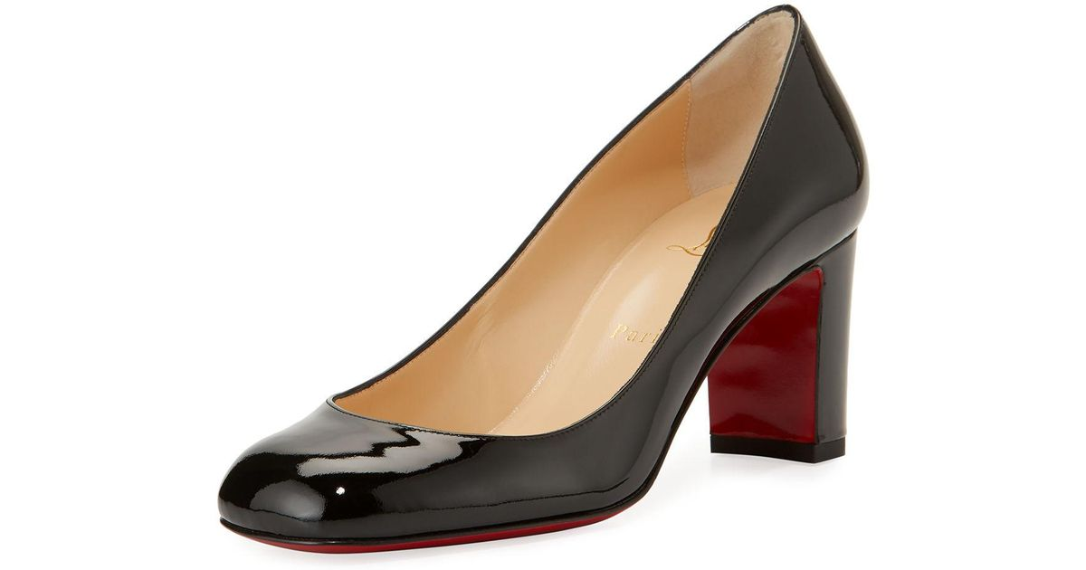 c2eb0d725ad0 ... order lyst christian louboutin cadrilla patent block heel red sole pump  in black 9f64f 0e587