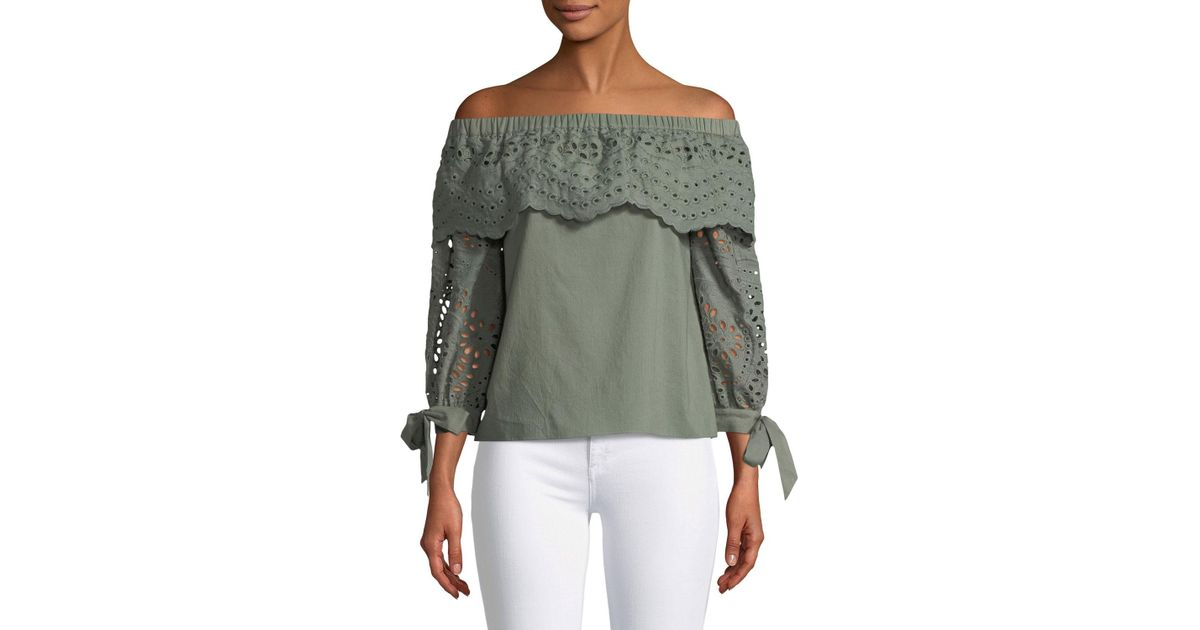 c3a29ab4fac96 Lyst - Parker Mandy Off-the-shoulder Eyelet Cotton Blouse in Green