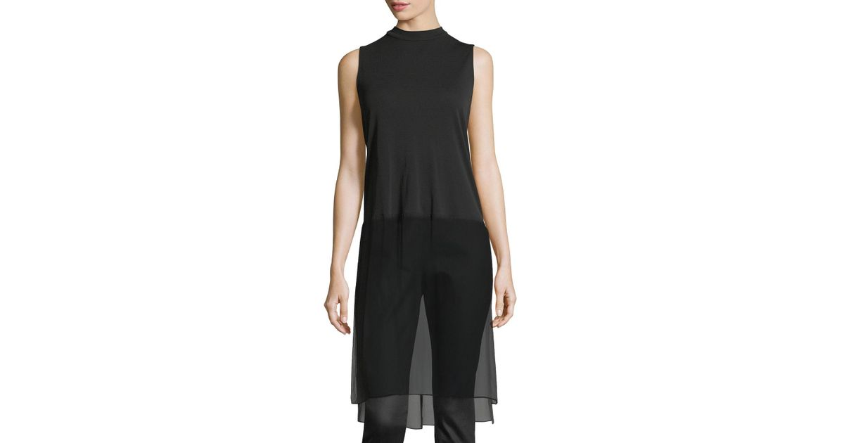 a34e3cca1be Lyst - Eileen Fisher Sleeveless Mock-neck Stretch Silk Jersey Tunic in Black