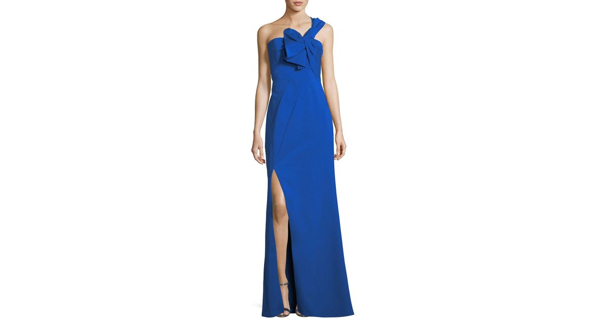 Lyst Aidan Mattox One Shoulder Bow Crepe Evening Gown In Blue
