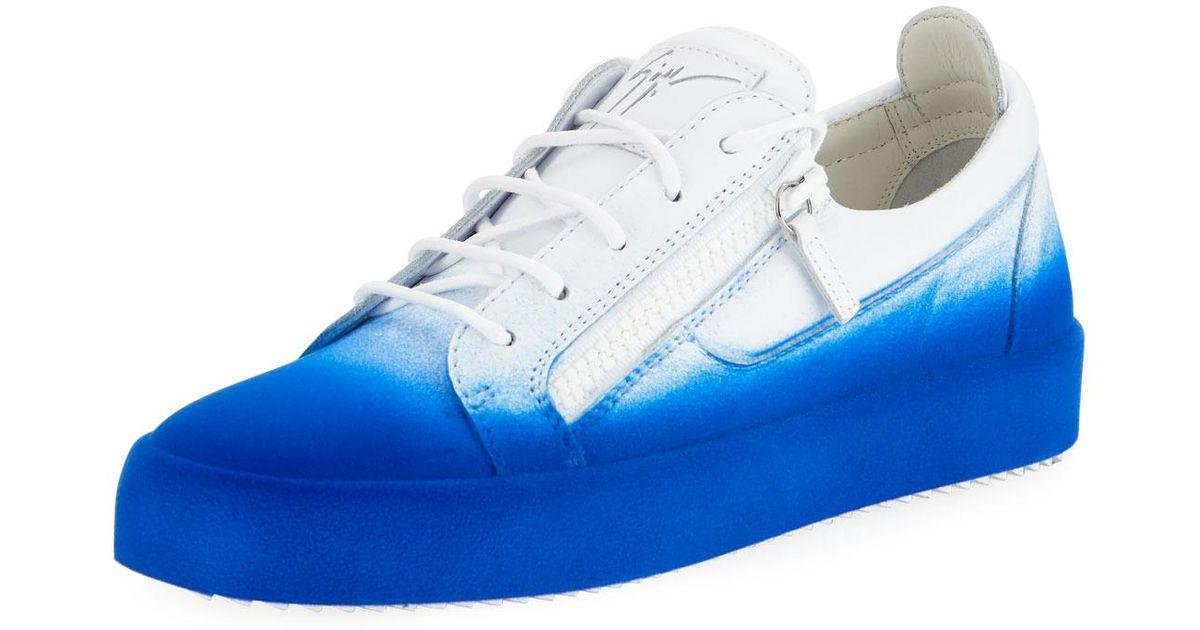 a3f979478dd73 Giuseppe Zanotti Men's Smuggy Fade-in Flocked Low-top Sneakers in Blue for  Men - Lyst
