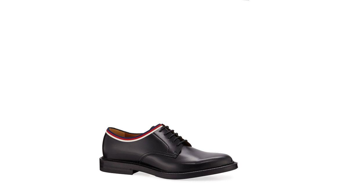 8af35c2b82f Lyst - Gucci Beyond Web Trim Derby Shoes in Black for Men - Save 71%