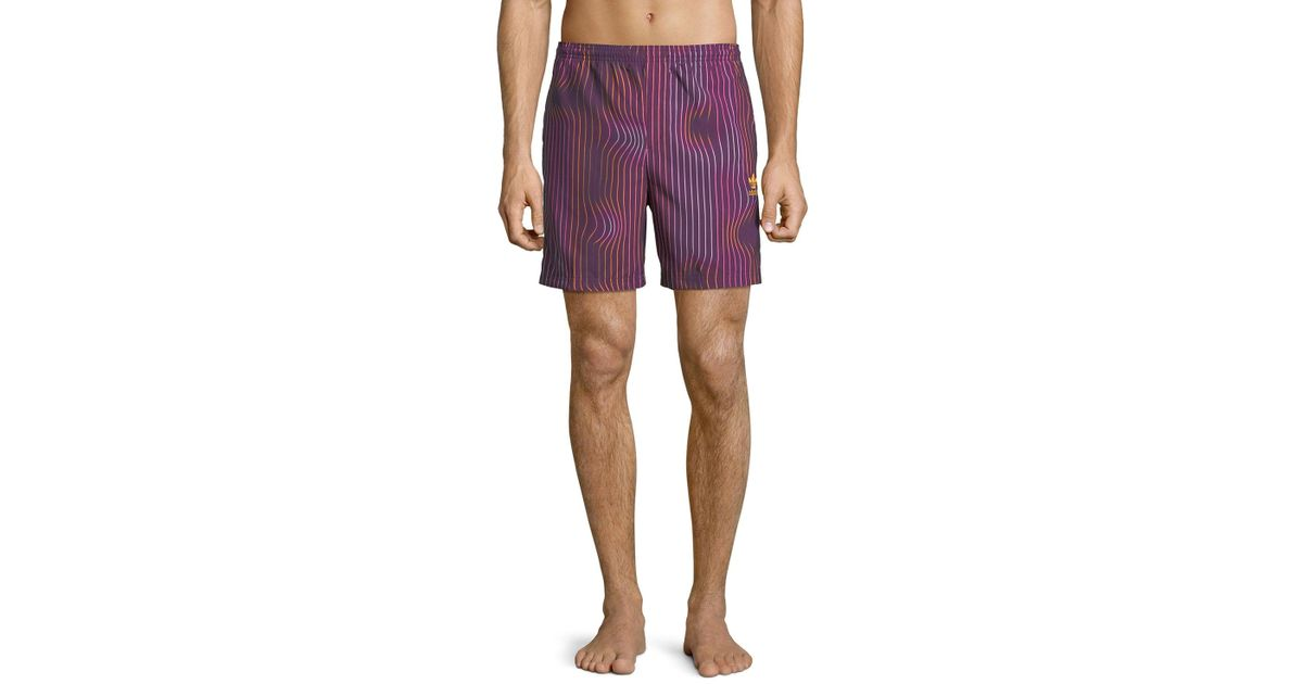 Lyst Adidas Men's Warped Stripes Swim Trunks Purple in Purple Trunks for Men 775720