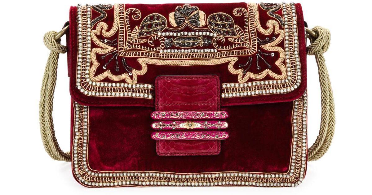 8bc9754998329 Lyst - Etro Rainbow Soft Small Velvet Crossbody Bag in Red