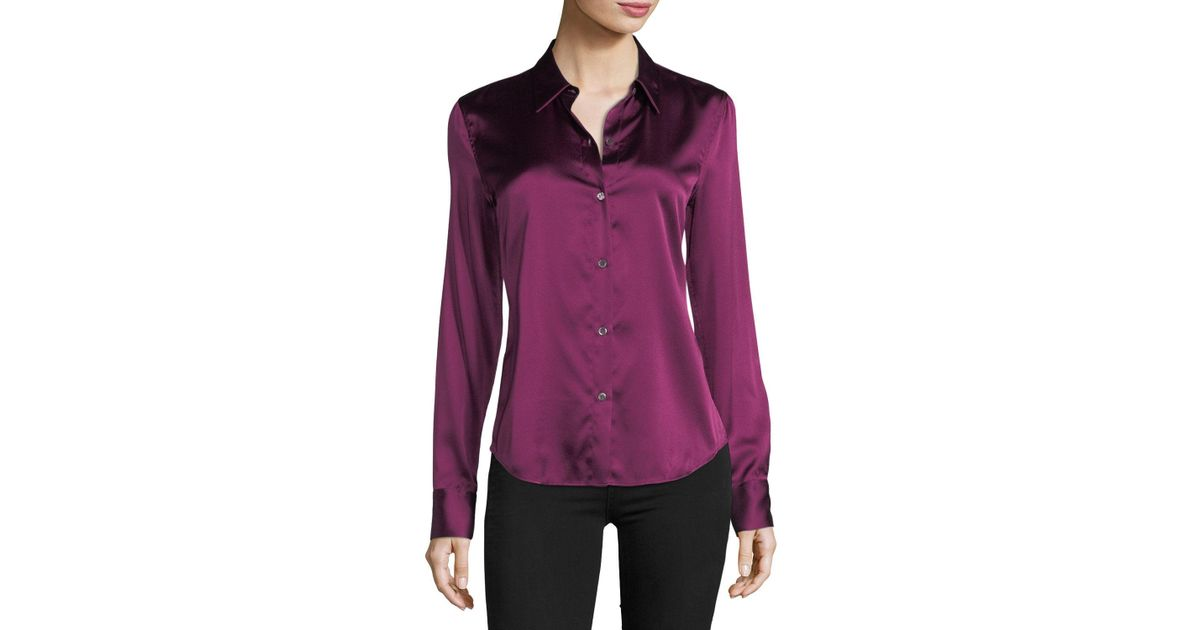 231e3901aacb7 Lyst - Theory Perfect Fitted Button-front Stretch-satin Shirt in Pink