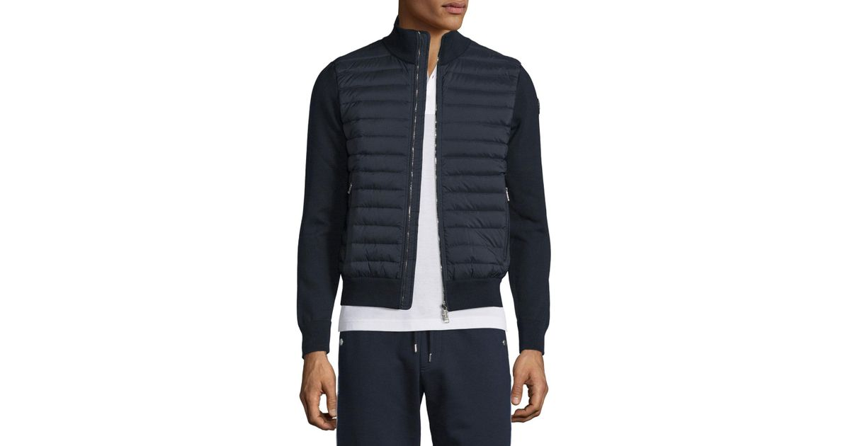 Lyst - Moncler Quilted Jersey Track Jacket With Nylon Front in Blue for Men 9129e43ef