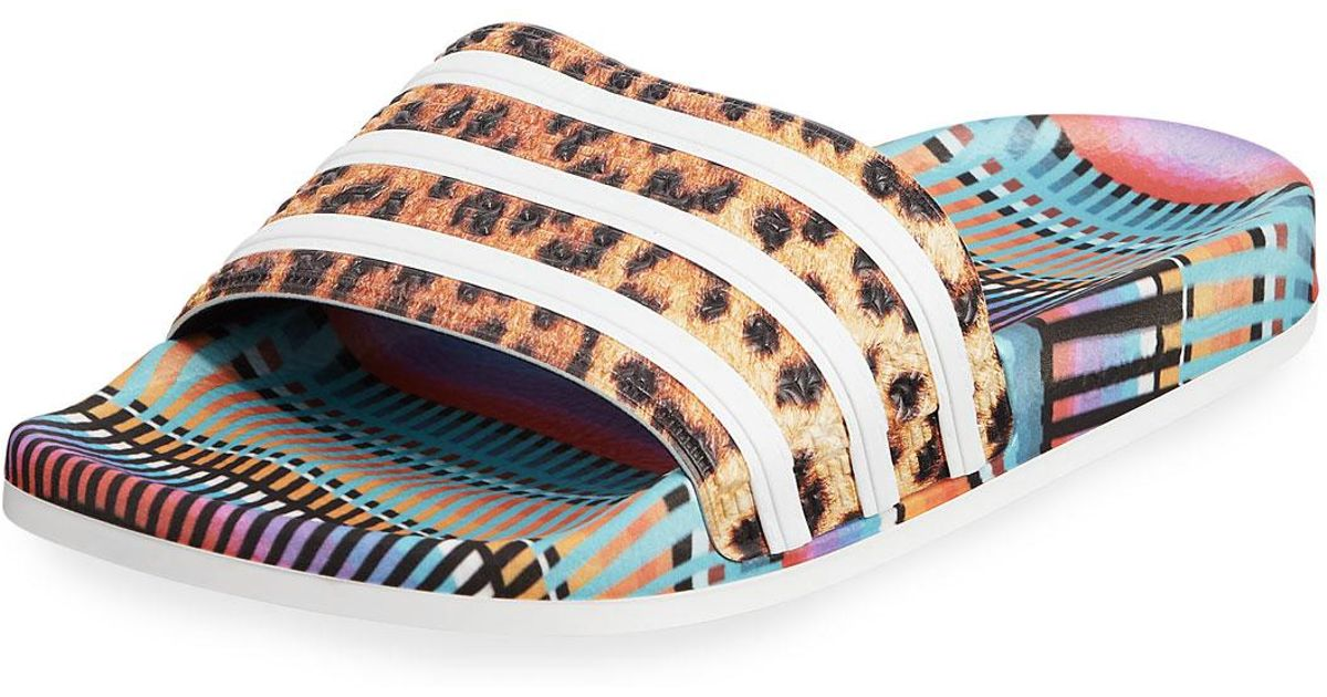 18e58f7aa3c92 Lyst - adidas Adilette Bright Leopard-print Pool Slide Sandals in Blue for  Men
