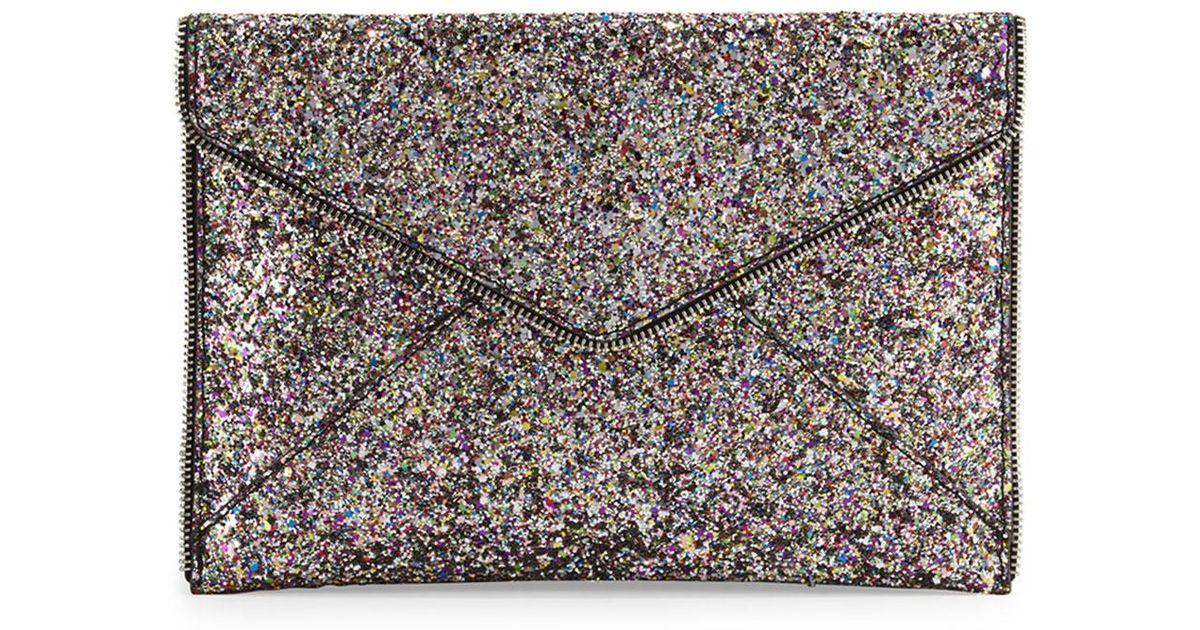 f1a53f1df Rebecca Minkoff 'leo' Glitter Clutch in Metallic - Lyst