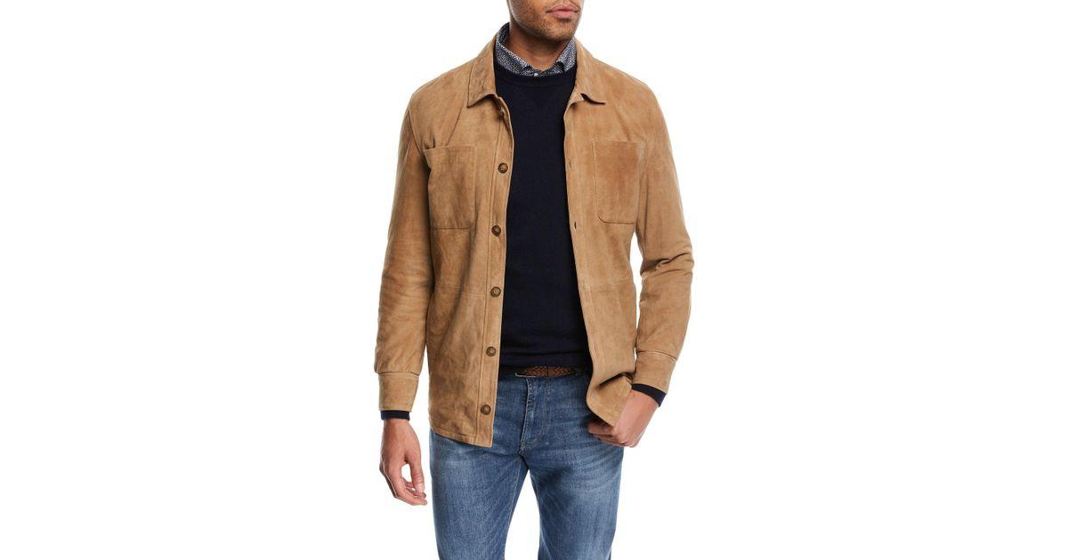 b00d48404 Peter Millar Suede Shirt Jacket for Men - Lyst