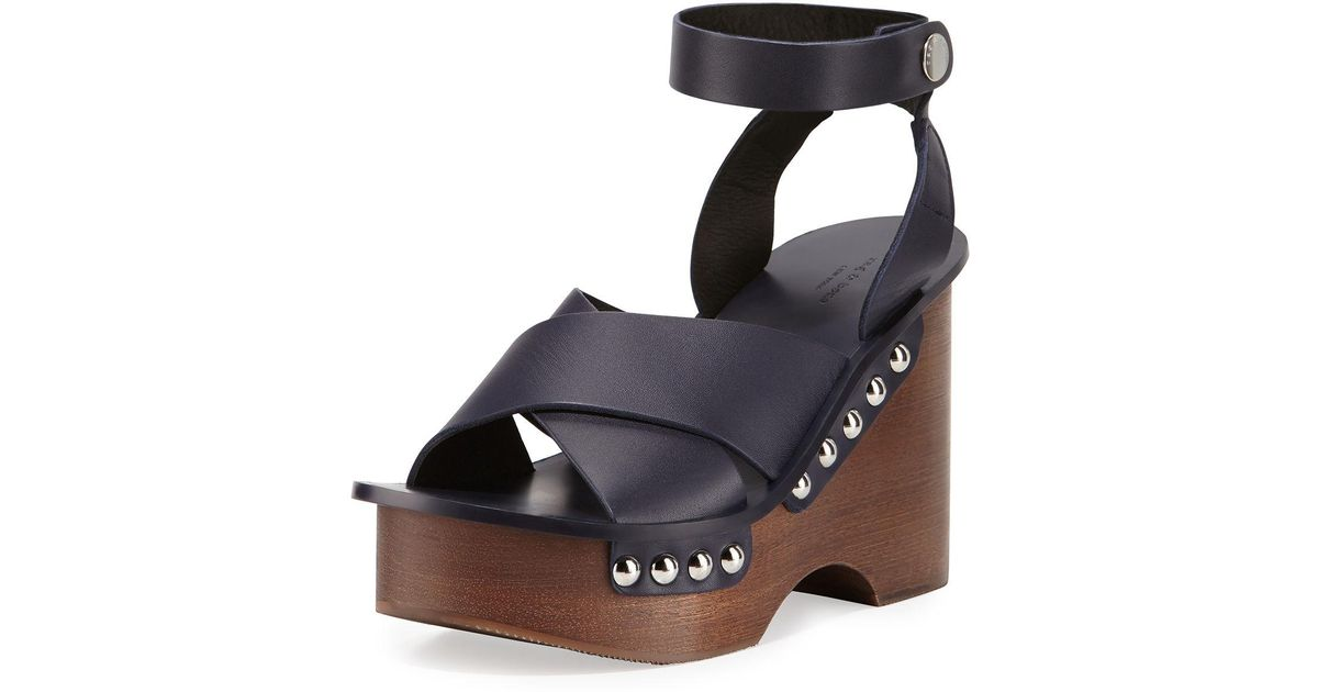 a6ea62cbf04 Lyst - Rag   Bone Hester Leather Wedge Sandal in Blue
