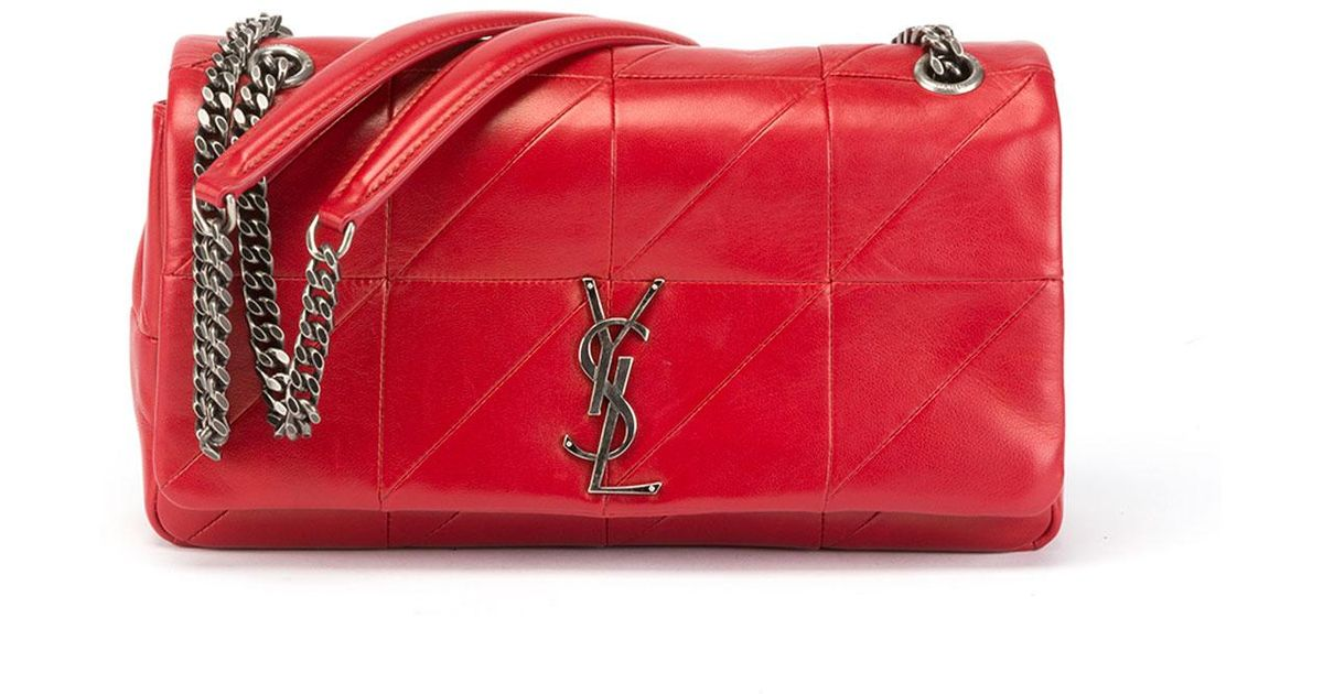 e930171be1 Lyst - Saint Laurent Jamie Medium Diamond-quilted Double-chain Shoulder Bag  in Red