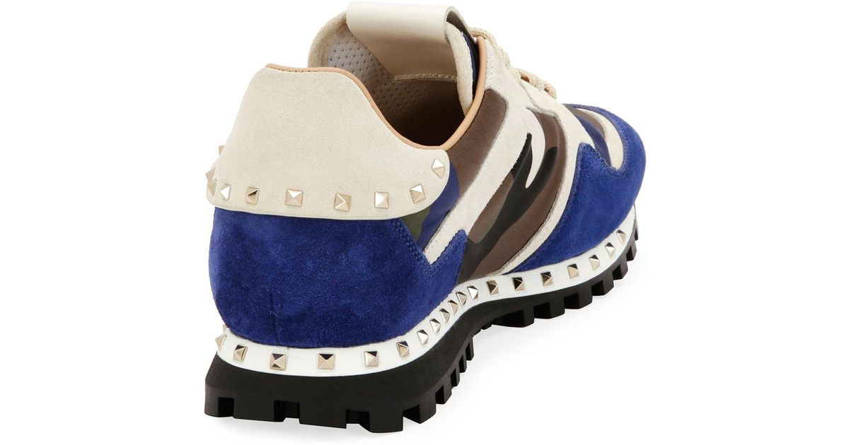 344c1b26de30 Lyst - Valentino Men s Rockrunner Camo Leather Sneaker in Blue for Men