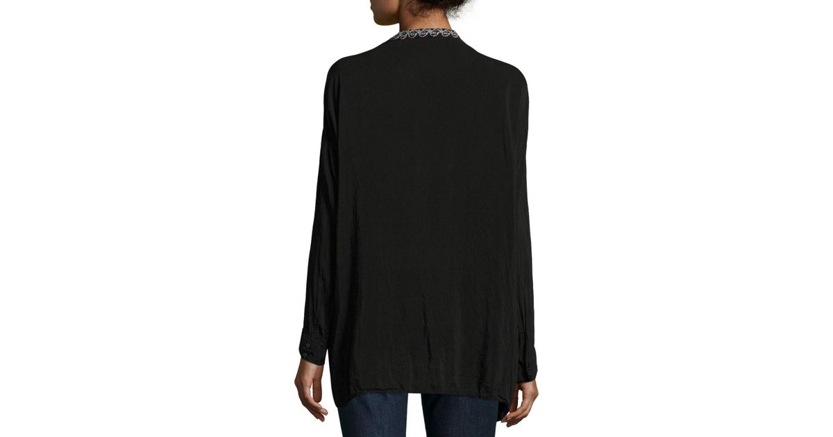 89c95e57b70ac Lyst - Johnny Was Gemstone Embroidery Long-sleeve Blouse in Black