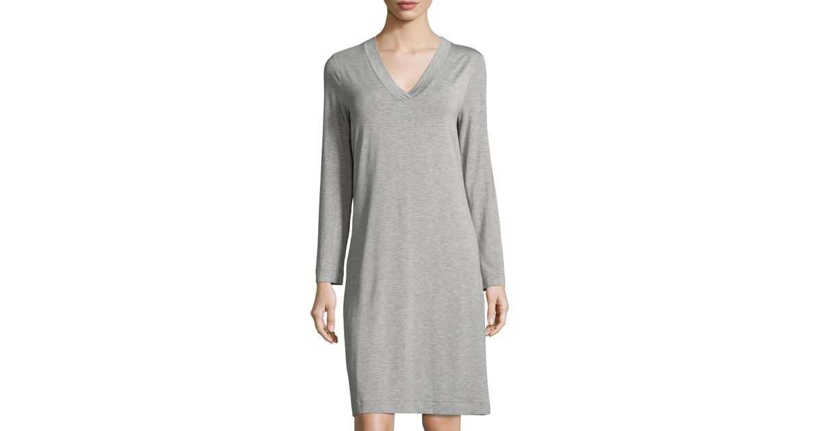 e4b6e66701 Lyst - Hanro Champagne Long-sleeve Nightgown in Blue