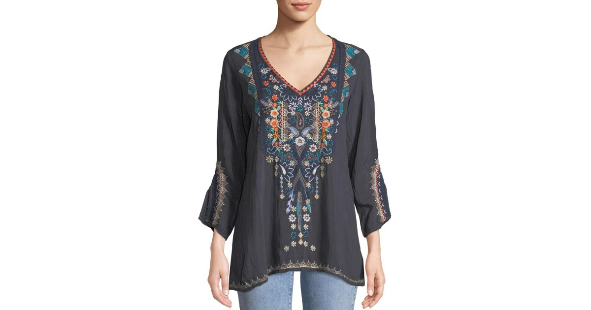 d8e13b4a4f2 Lyst - Johnny Was Plus Size Maya V-neck Embroidered Blouse