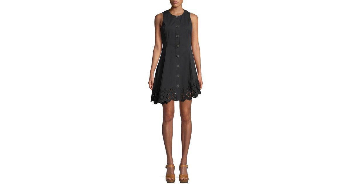 1531de962b0d7 Lyst - 10 Crosby Derek Lam Sleeveless Button-down Cotton Dress With Scalloped  Hem in Black