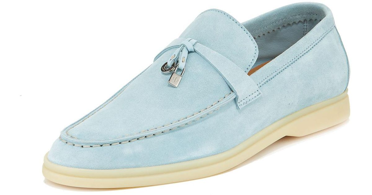0b673f3086e Lyst - Loro Piana Summer Charms Walk Suede Loafers in Blue
