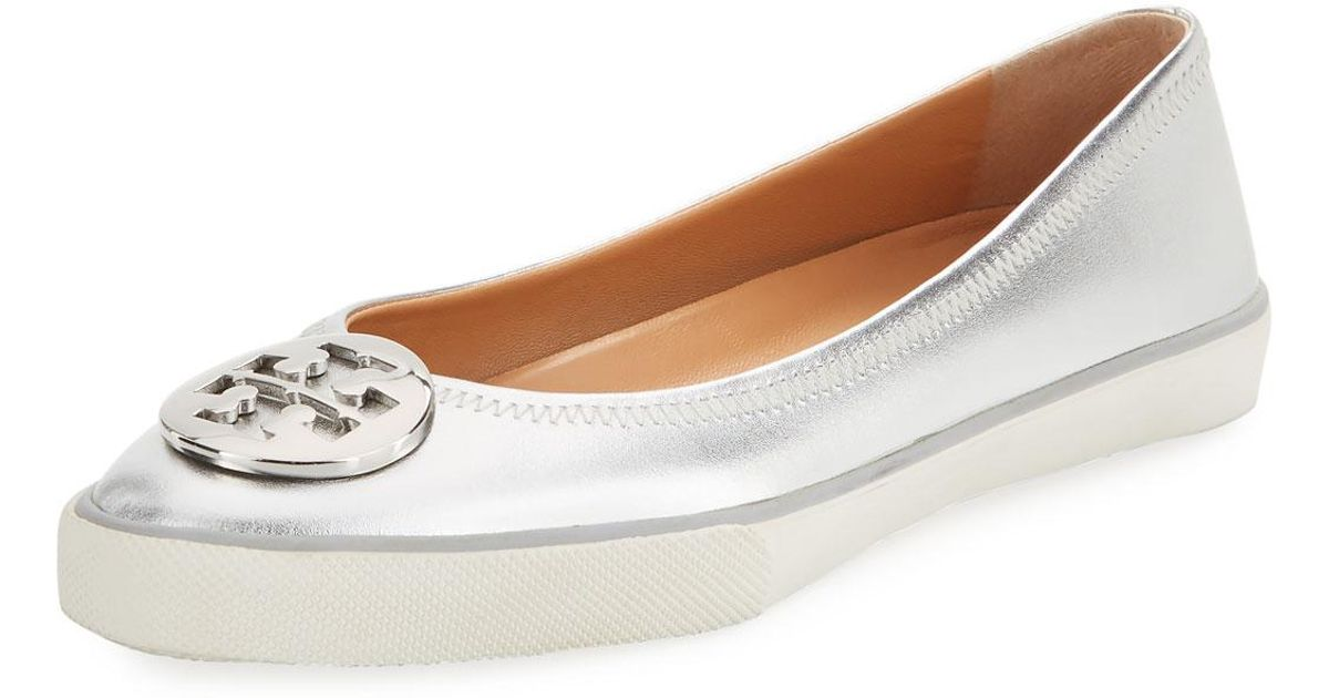 9932bfacb398 Lyst - Tory Burch Skylar Metallic Leather Ballet Sneakers in Metallic