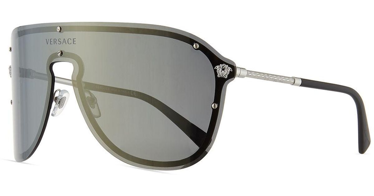 c65b081519 Lyst - Versace Greek Key Shield Sunglasses in Gray