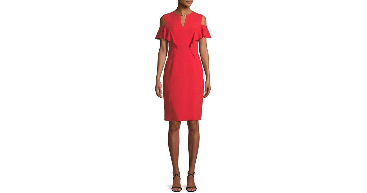 669e1b20 Lyst - Elie Tahari Johari Ruffle-sleeve Sheath Dress in Red