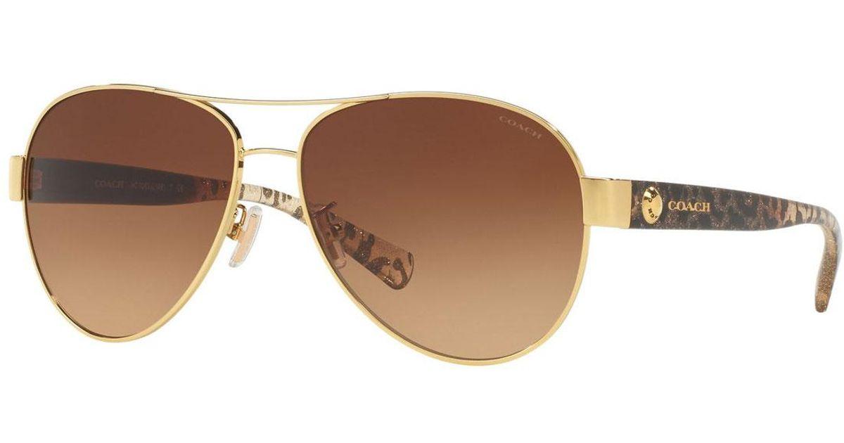 0a8fc4da583fd Lyst - COACH Gradient Metal Aviator Sunglasses W  Leopard-print Acetate  Arms in Brown