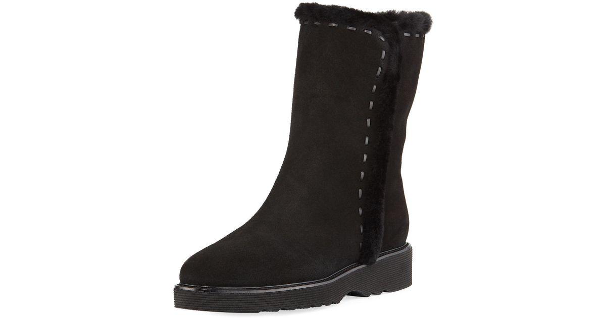 aadfcf8f1 Lyst - Aquatalia Kalena Fur-lined Suede Booties in Black