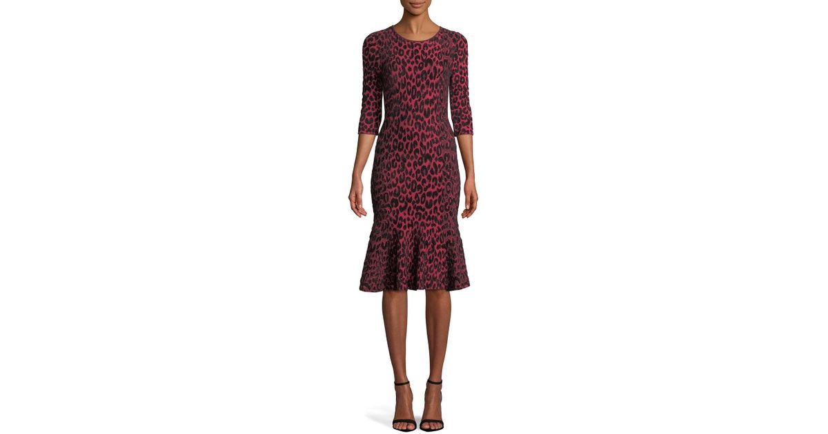 Lyst - Milly Textured Leopard Animal-print Mermaid Midi Dress in Red 6269821de