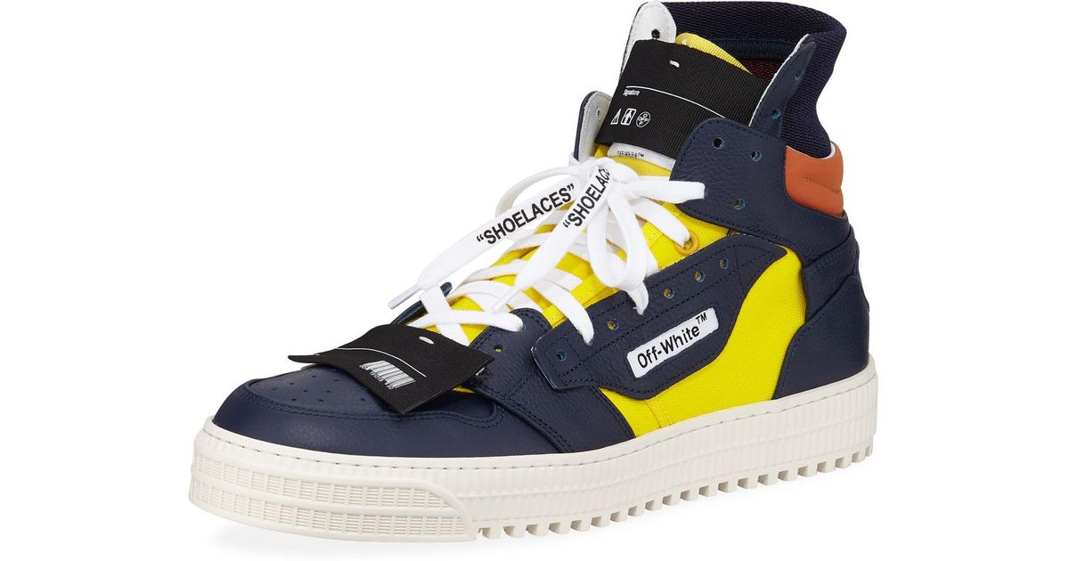 122f25f20946 Lyst - Off-White c o Virgil Abloh Men s 3.0 Exclusive Leather High-top  Sneakers in Yellow for Men