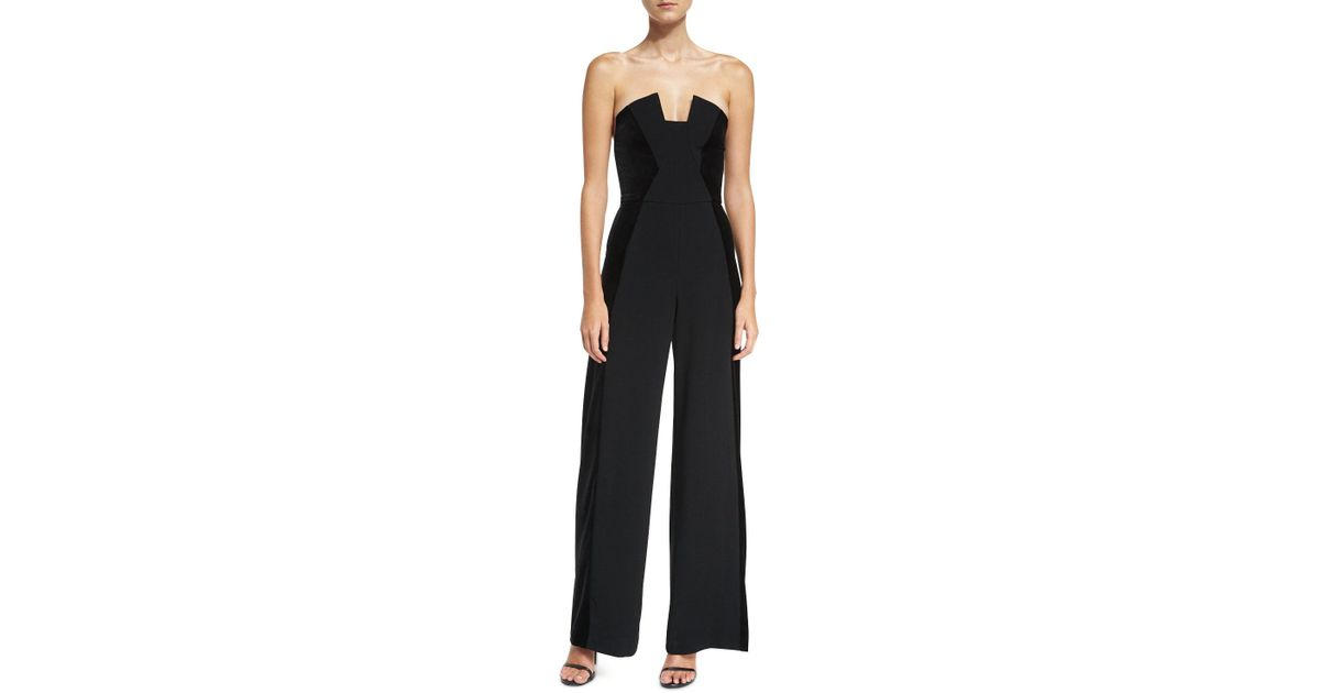 55846541406 Lyst - Black Halo Lena Strapless Wide-leg Velvet Jumpsuit in Black