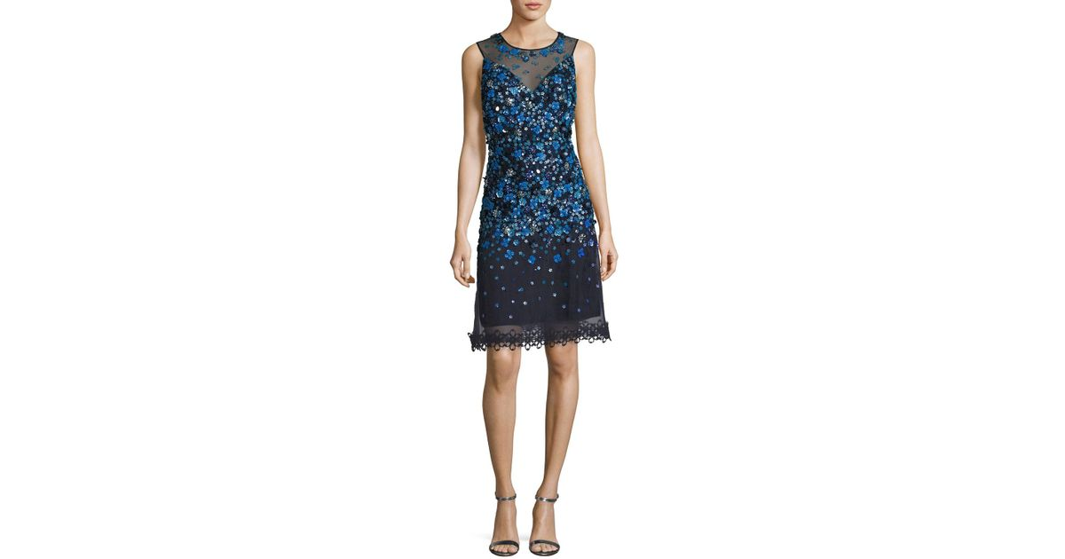 904b40f79a89d Elie Tahari Justina Sleeveless Sequined Mesh Cocktail Dress in Blue - Lyst