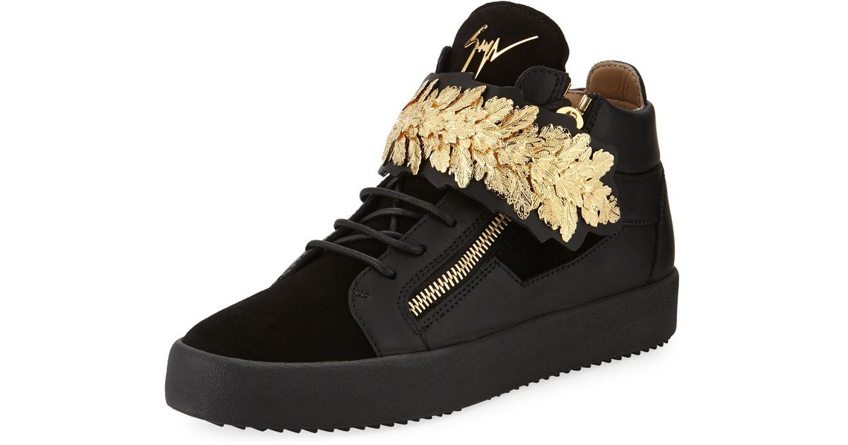 3d8f8f319 Giuseppe Zanotti Men s Mid-top Sneakers With Gold Leaf Strap in Black - Lyst
