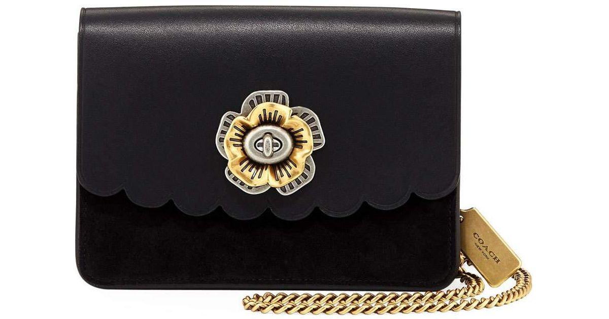 9aaf6c309fa ... discount code for lyst coach tea rose leather bowery turn lock  crossbody bag in black 8f85b